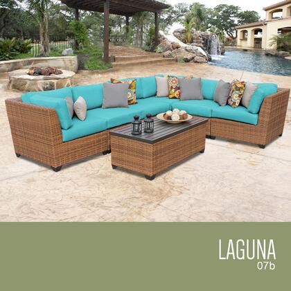LAGUNA-07b-ARUBA Laguna 7 Piece Outdoor Wicker Patio Furniture Set 07b with 2 Covers: Wheat and