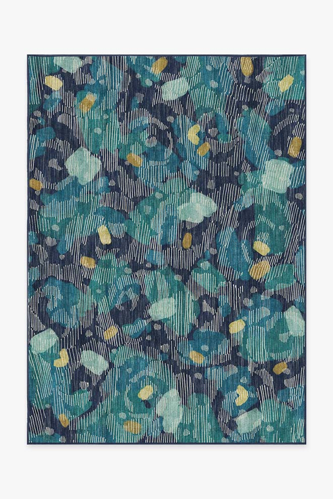 Washable Rug Cover & Pad | Leona Midnight Blue Rug | Stain-Resistant | Ruggable | 5x7