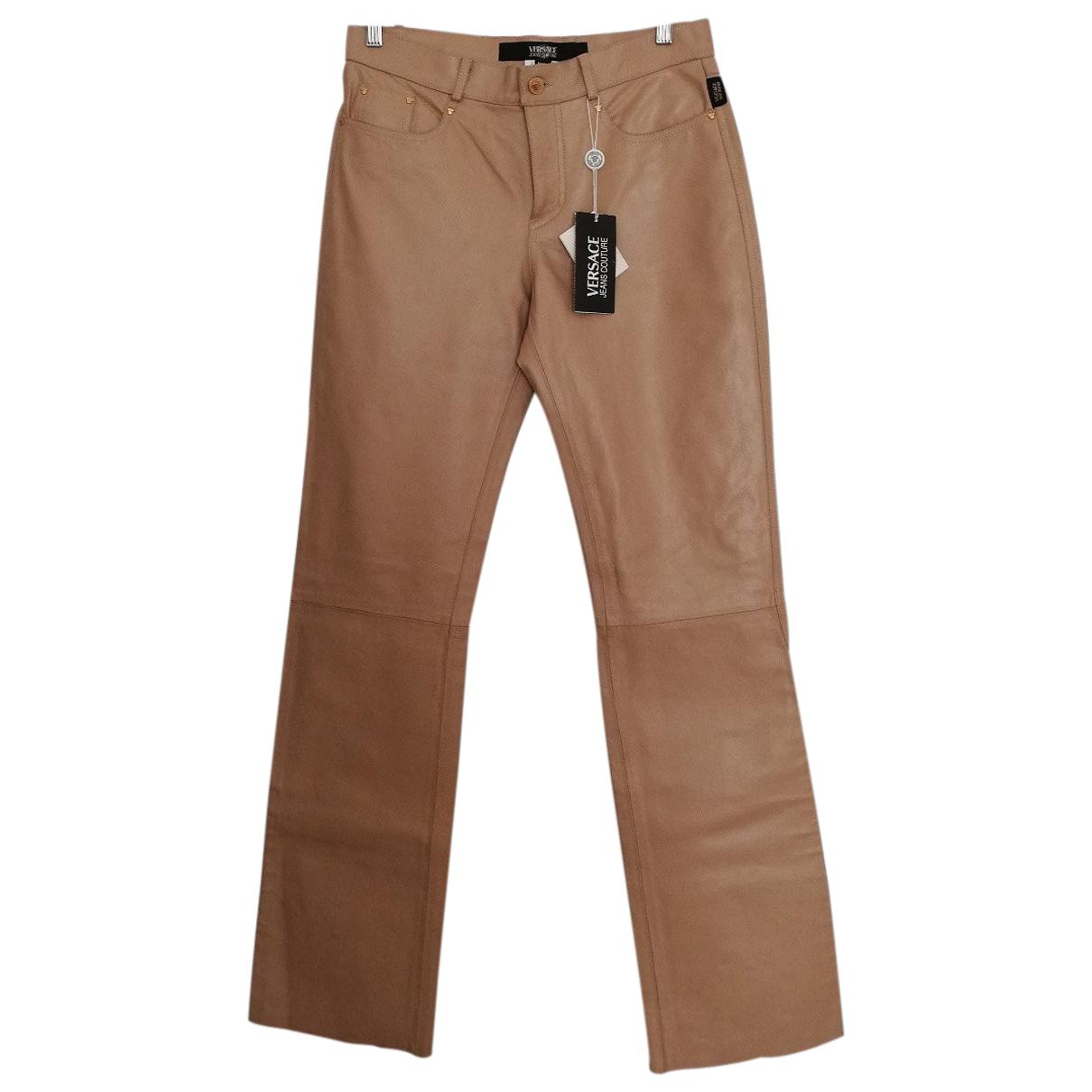 Versace Jean - Pantalon   pour femme en cuir - beige