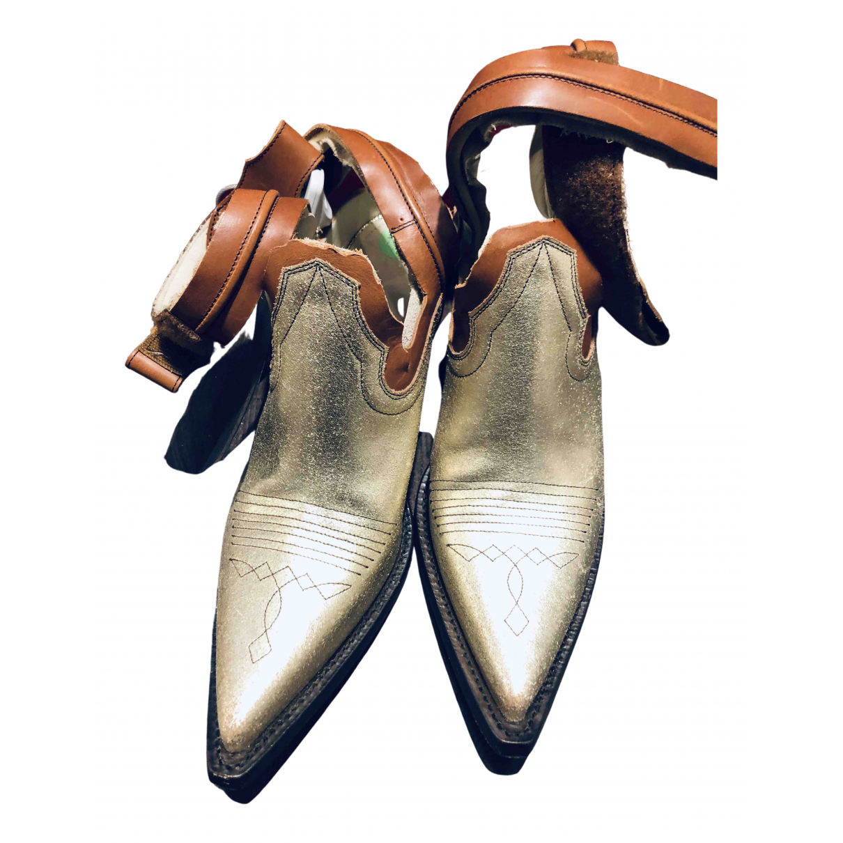 Maison Martin Margiela - Boots   pour femme en cuir - dore