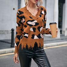 Pullover mit V Kragen, Grafik Muster und Riss