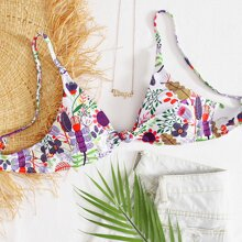 Floral Knot Front Bikini Top