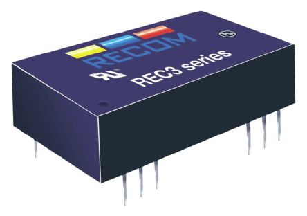 Recom REC3 3W Isolated DC-DC Converter Through Hole, Voltage in 18 → 36 V dc, Voltage out ±15V dc Medical