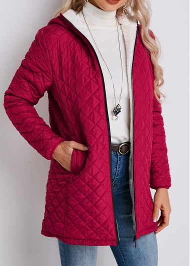 Zipper Closure Padded Quilted Cotton Pocket Coat - S