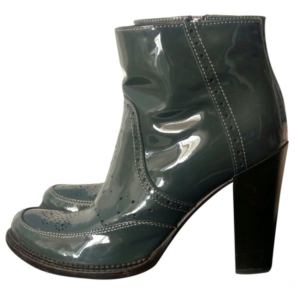 Non Signé / Unsigned \N Grey Patent leather Ankle boots for Women 38 EU