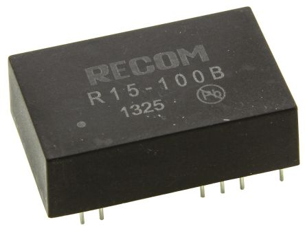 Recom 5W Isolated DC-DC Converter Through Hole, Voltage in 14 → 17 V dc, Voltage out 55 → 135V dc