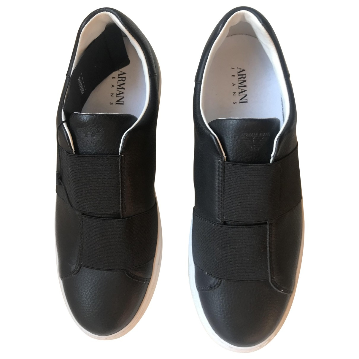 Armani Jeans \N Black Leather Trainers for Men 41 EU