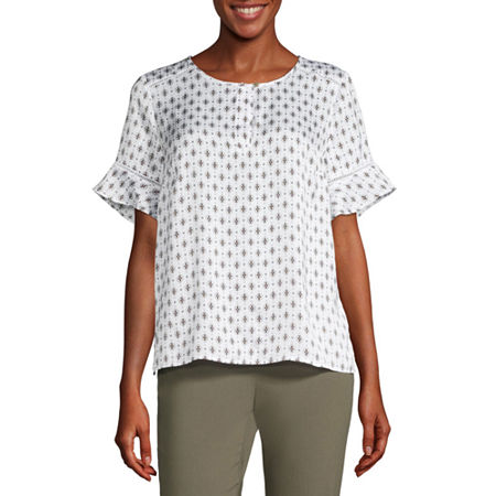 Liz Claiborne-Petite Womens Round Neck Short Sleeve Sateen Blouse, Small , White