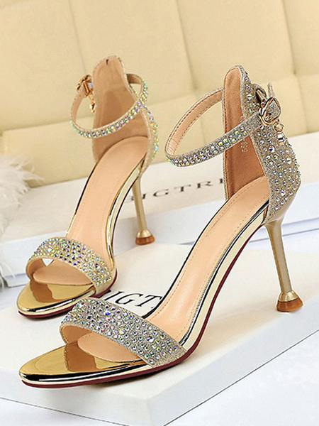 Milanoo High Heel Sandals Black Micro Suede Upper Round Toe Rhinestones Evening Shoes Women Party Shoes
