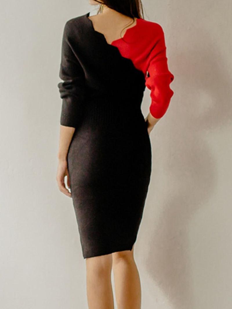 Ericdress Knee-Length V-Neck Wave Cut Bodycon Dress