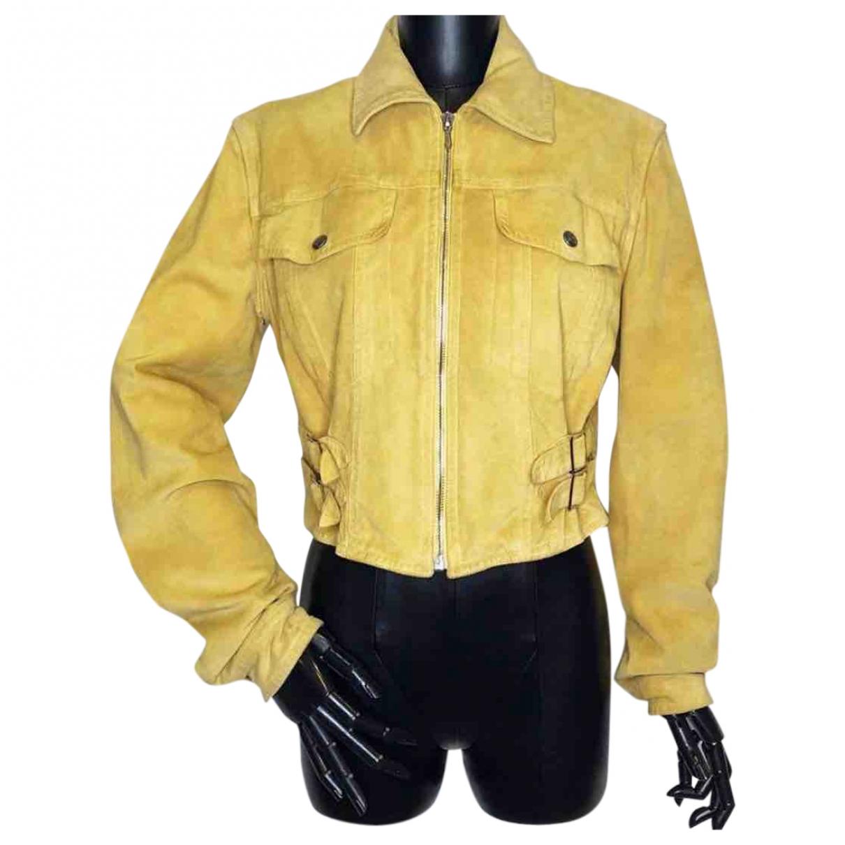 Dior \N Jacke in  Gelb Veloursleder