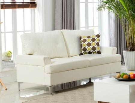 Walker Collection Sofa with Bonded Leather Upholstery  Tufting Details  Flared Arms and Chrome Legs in