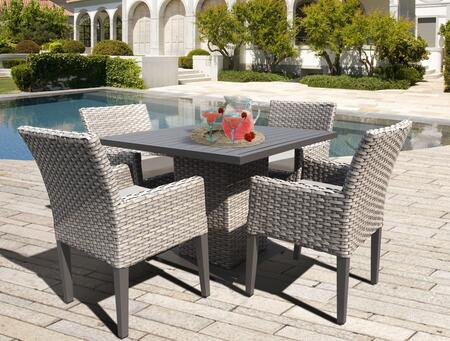 Oasis Square Dining Table with 4 Chairs with 2 Covers: Gray and Beige