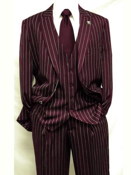 Mens Dark Burgundy ~ White Gangster Bold PinStripe Suit Pleated pant