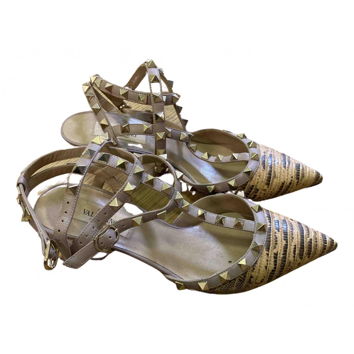 Valentino Garavani Rockstud Beige Lizard Heels for Women 38 EU