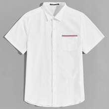 Men Collared Striped Tape Pocket Shirt