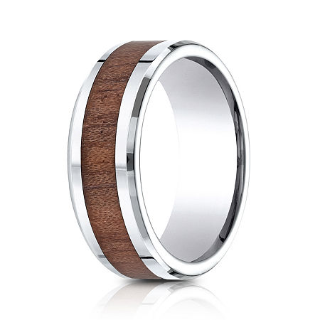 Mens Comfort Fit 8mm Cobalt with Rosewood Inlay Wedding Band, 10 1/2 , No Color Family