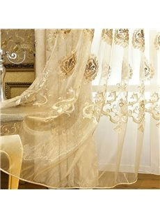 Fancy Organza Delicate Embroidered Custom Sheer Curtain