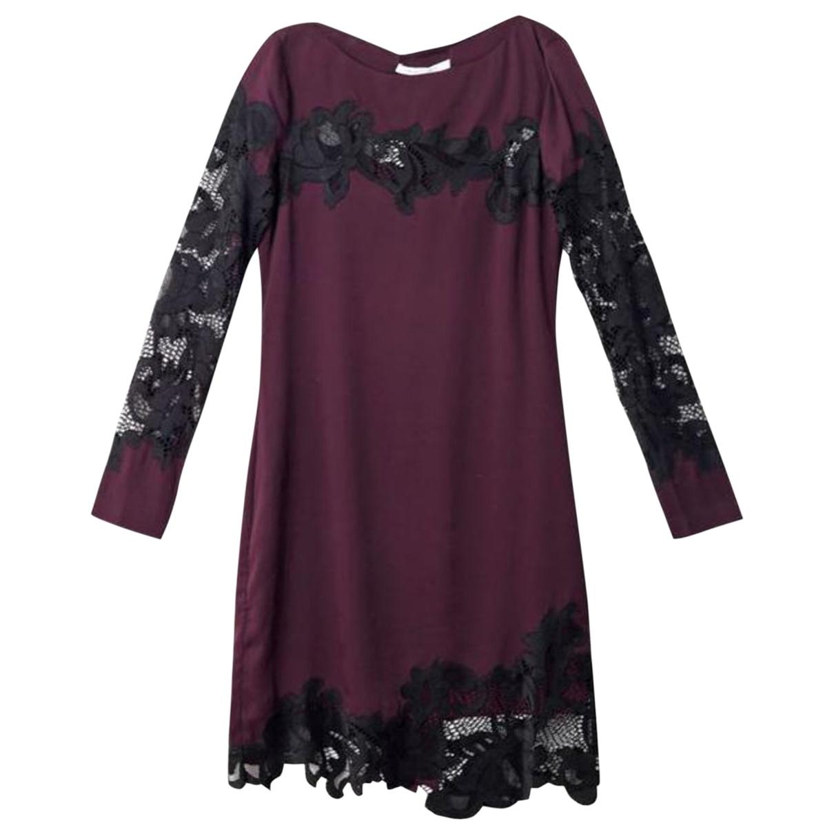 Diane Von Furstenberg - Robe   pour femme en soie - bordeaux