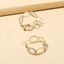 Pendientes de aro con cadena con diamante de imitacion