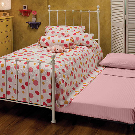 Molly Metal Bed with Trundle, One Size , White