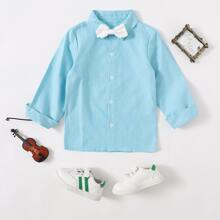 Toddler Boys Bow Tie Button Front Shirt