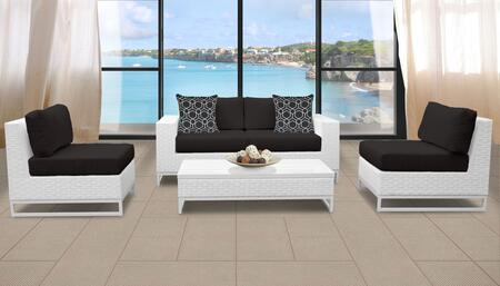 Miami Collection MIAMI-05g-BLACK Miami 5-Piece Patio Set 05g with 2 Armless Chair   1 Coffee Table   1 Left Arm Chair   1 Right Arm Chair - Sail