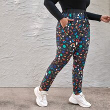 Plus Cartoon And Letter Graphic Knot Front Pants