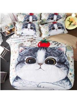 Cute Little Kitty 3D Print 4-Piece Polyester Duvet Cover Sets