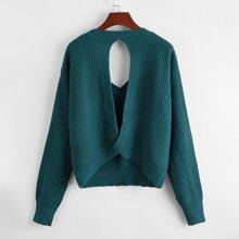 Pullover mit Ausschnitt, Twist und sehr tief angesetzter Schulterpartie
