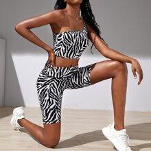Sports Top mit Zebra Streifen,e einer Schulter & Radhose