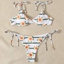 Sunflower Print Underwire Tie Side Bikini Swimsuit