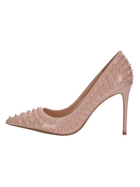 Milanoo Women's Pumps Slip-On Pointed Toe Stiletto Heel Rivets Spike Heel Pumps