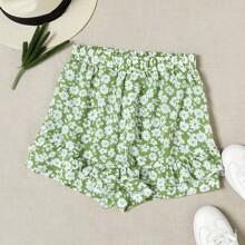 Shorts mit Bluemchen Muster und Raffungsaum