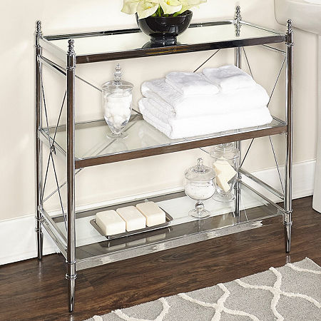Pinnacle Chrome and Glass Bathroom Shelf, One Size , Silver