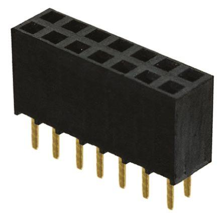 Samtec , SSW 2.54mm Pitch 14 Way 2 Row Straight PCB Socket, Through Hole, Solder Termination