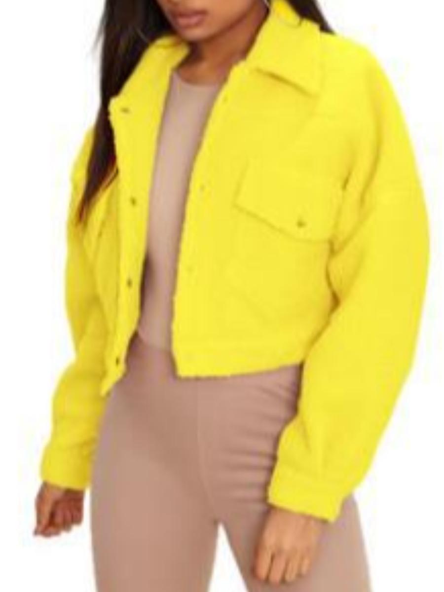 LW lovely Trendy Turndown Collar Buttons Design Yellow Coat