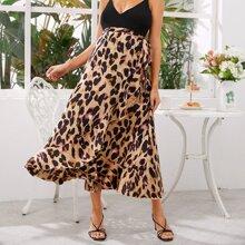 Maternity Allover Print Tie Side Ruffle Trim Wrap Skirt