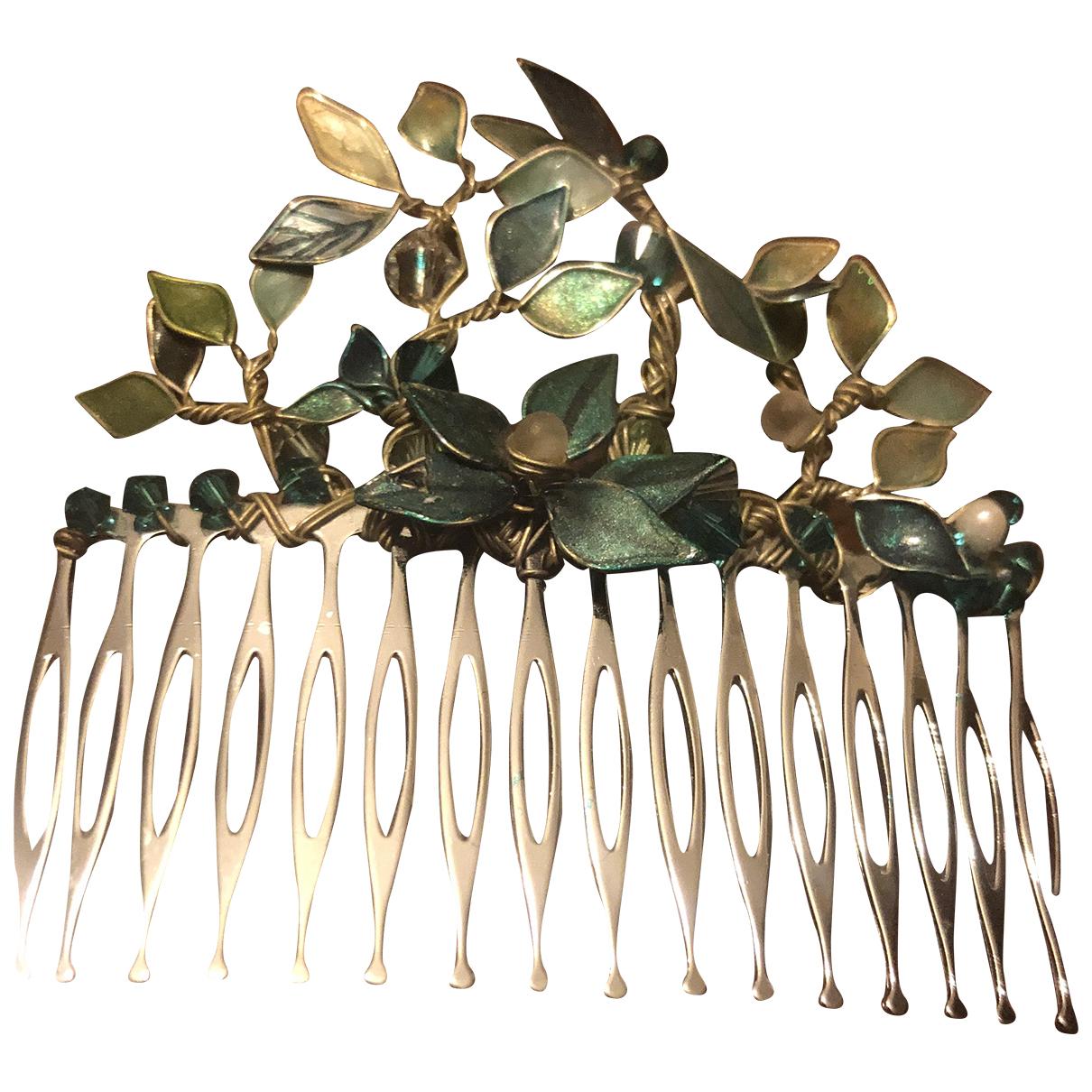 Non Signe / Unsigned Art Deco Haarschmuck in  Silber Metall