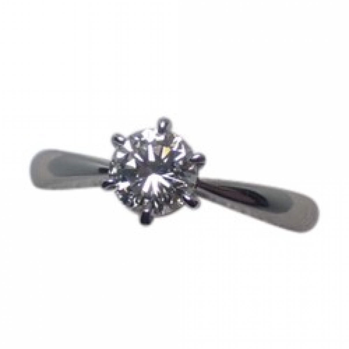 Non Signé / Unsigned Solitaire Silver Platinum ring for Women 4 ½ US