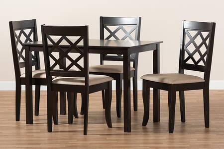 RH330C-SAND/DARKBROWN-5PCDININGSET Verner Modern and Contemporary Sand Fabric Upholstered Espresso Brown Finished 5-Piece Wood Dining
