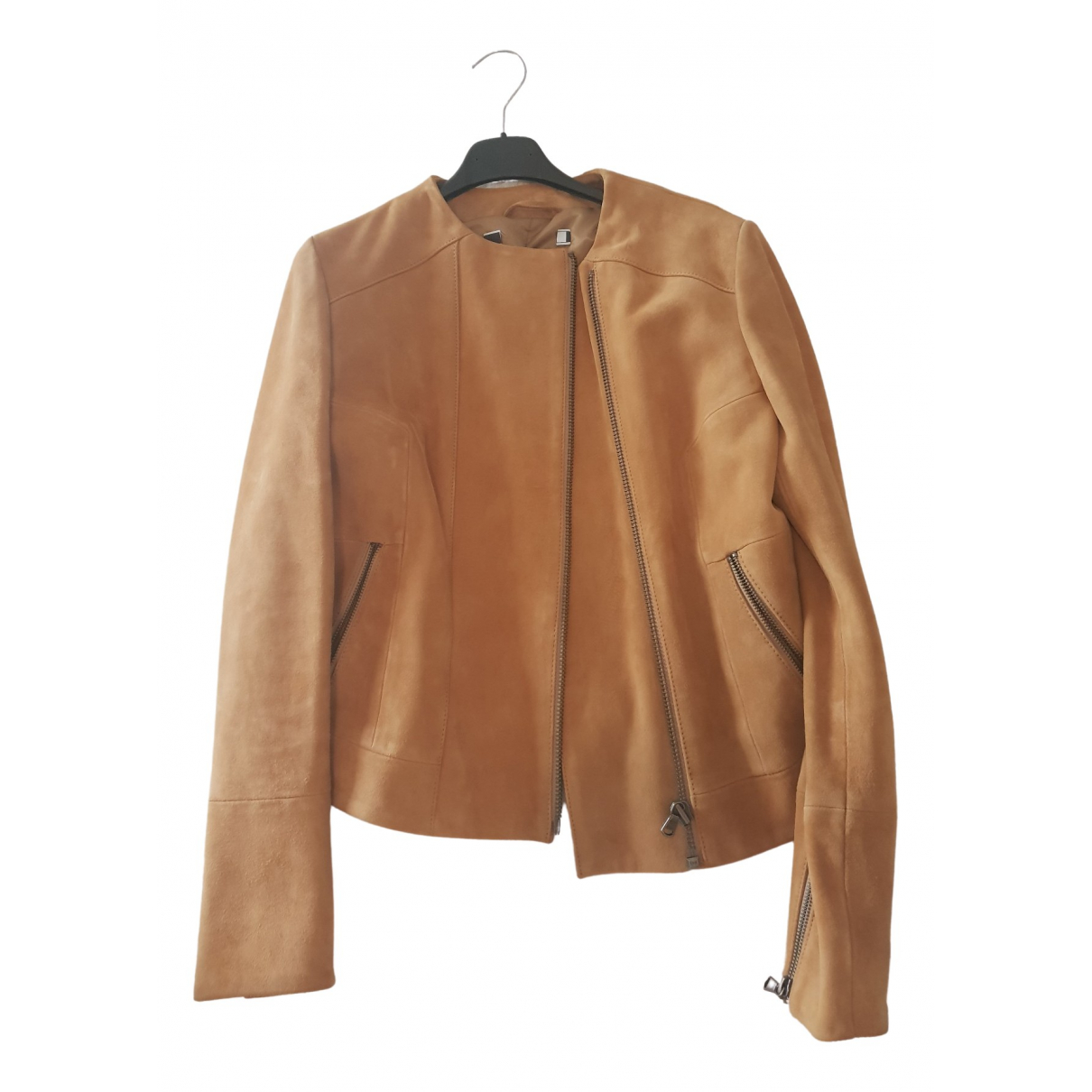 Sport Max \N Camel Leather Leather jacket for Women 40 IT