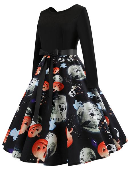 Milanoo Vestido vintage de mujer Vestido de swing de los años 50 Vestido retro de manga larga estampado