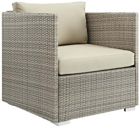 Repose Collection EEI-2961-LGR-BEI Outdoor Patio Armchair with Tan/Grey Synthetic Rattan Material  Water Resistant  Powder Coated Aluminum Frame and