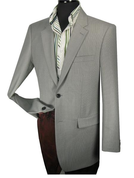 Mens 1 Wool Tailor Fit Blazer Side Vents Grey Tic Weave