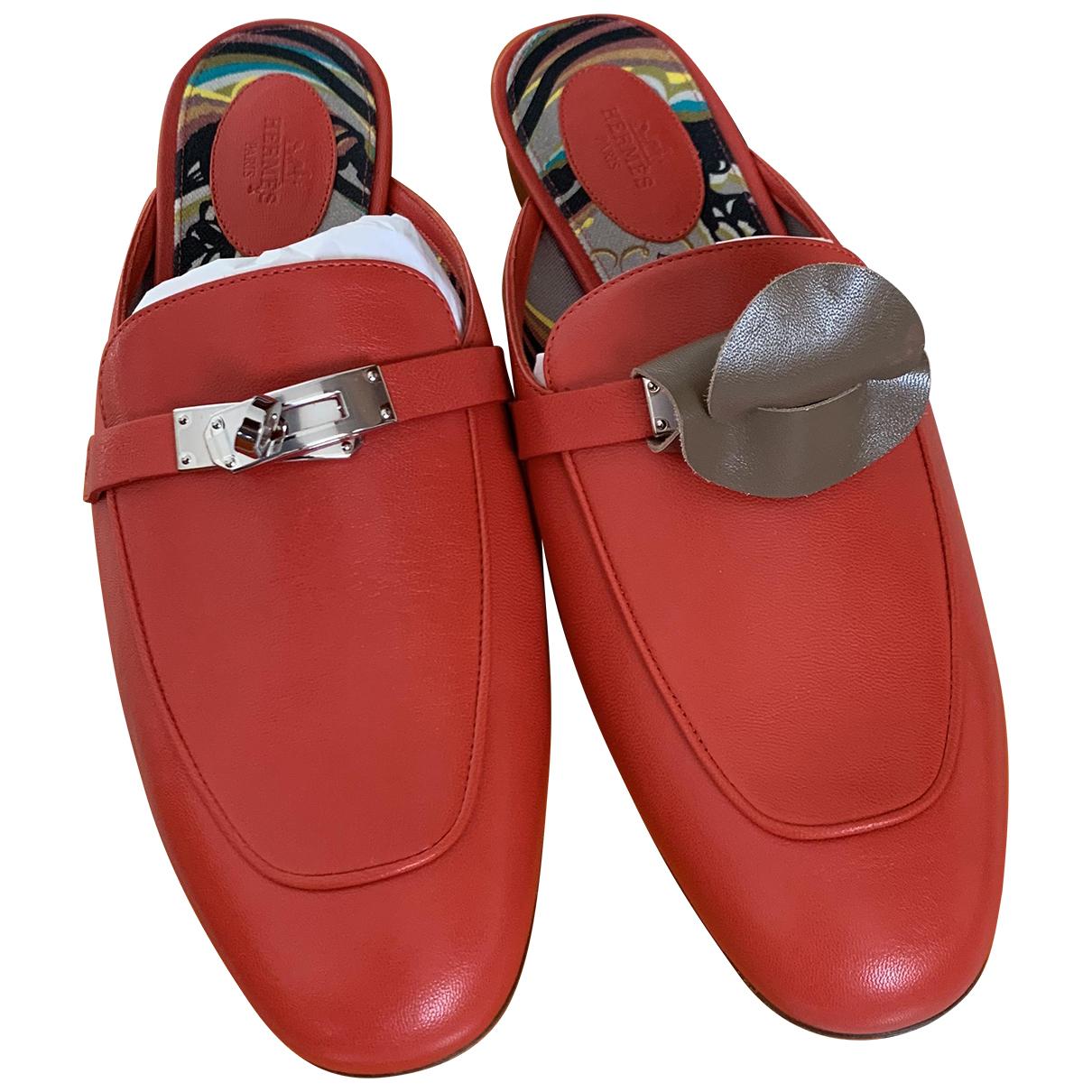 Hermes - Sandales Oz pour femme en cuir - rouge