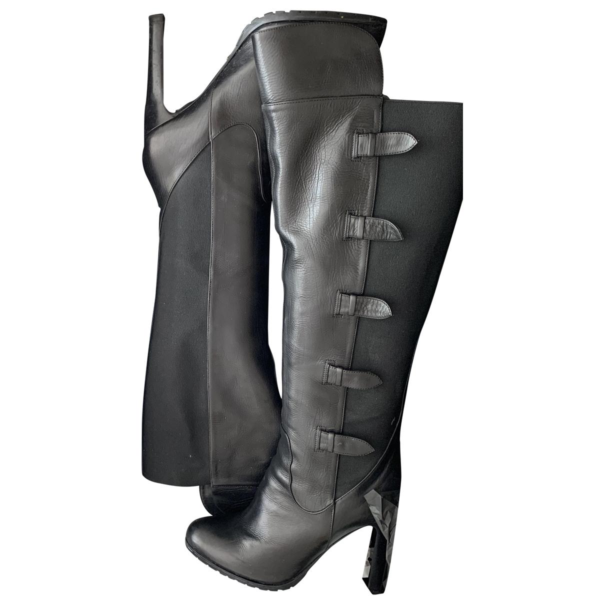 Giorgio Armani - Bottes   pour femme en cuir - noir