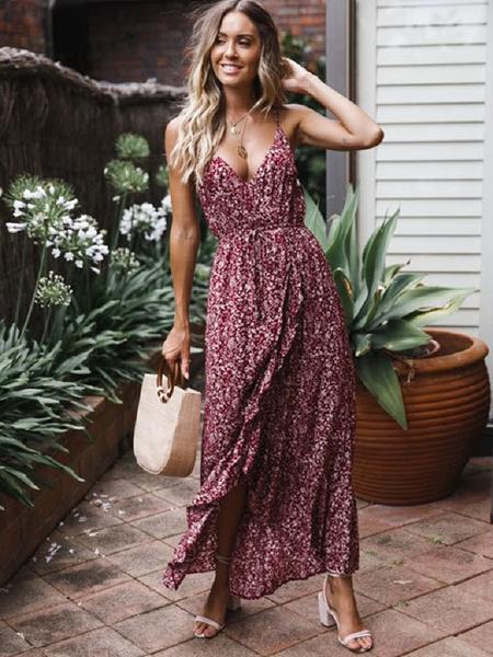 Milanoo Vestido largo Color borgoña Moda Mujer con estampado de poliester Vestidos para moldear el cuerpo con cordones con tirantes Verano
