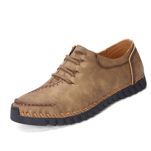 Men Hand Stitching Stylish Breathable Leather Casual Shoes