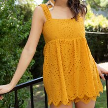 Sleeveless Embroidered Eyelet Lace Romper